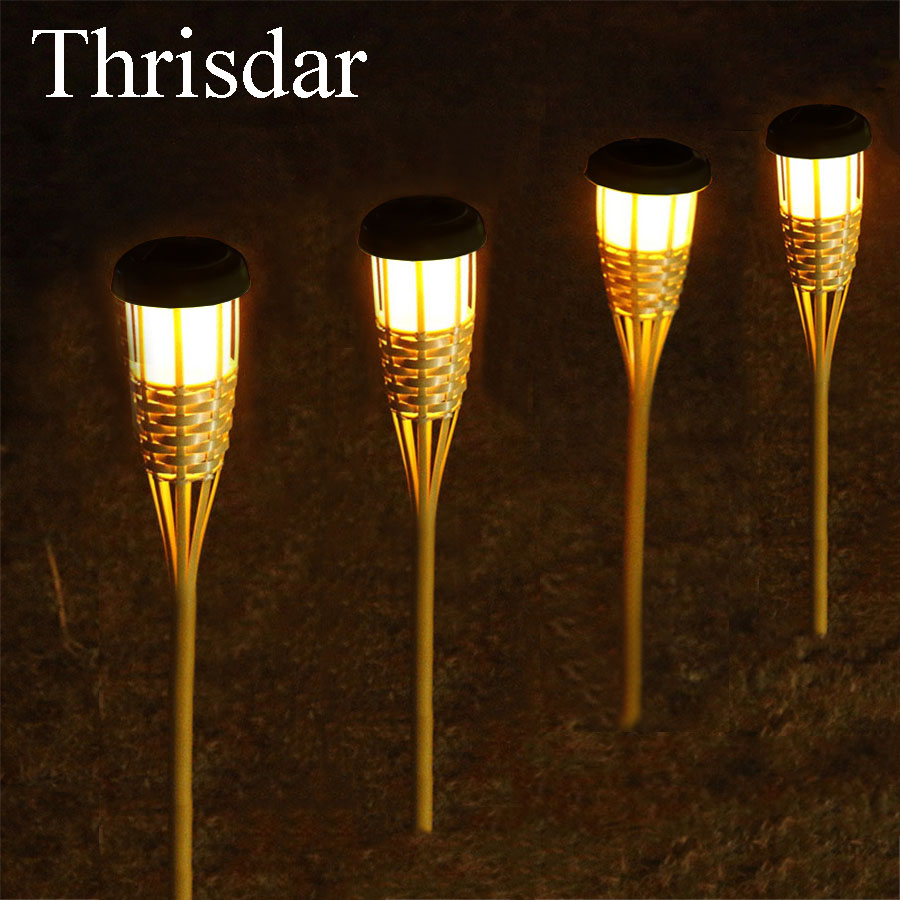 Thrisdar 8PCS Solar Garden Tiki Torch Lights Outdoor Path Lawn Grounding Sun Light Landscape Garden Yard Solar Spike Spotlight ...