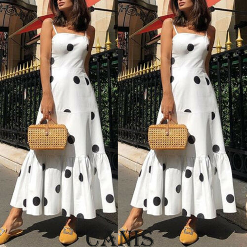 2019 New Hot Summer Fashion Latest Women's Boho Dot High Waist  Summer Party Evening Beach Sleeveless Long Dress Maxi Sundress
