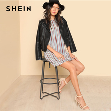 SHEIN Vertical Striped Short Velvet Dress Round Neck Short Sleeve Clothing Women Weekend Casual Dress 2018 Spring Loose Dress
