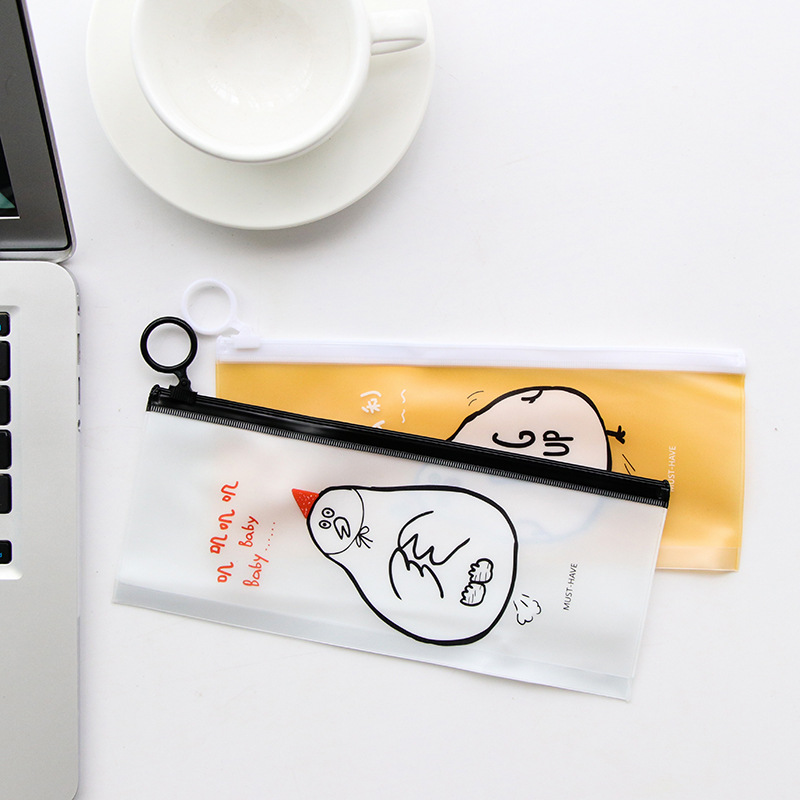 UHOO PVC Korea cute cartoon pen bag paper bag of potato ring creative simple rabbit seal Stationery office supplies for students