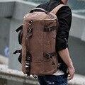 Hombres de corea del lienzo mochila hombres carta de impresión gran bolsa de viaje mochila equipo masculino multifunción bolsa de lona mochilas de cuero de LA PU