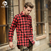 Hip Hop Men Shirt Chris Brown Oversized Gold Side Zipper Extended Plaid Shirt Casual Red Blue