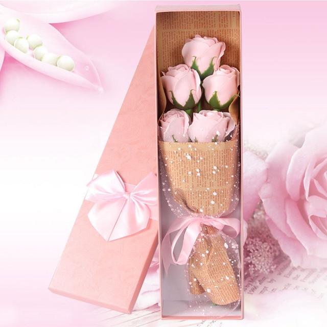 5pcs Box Rose Flower Shaped Soap Bouquet Artificial Flowers Roses