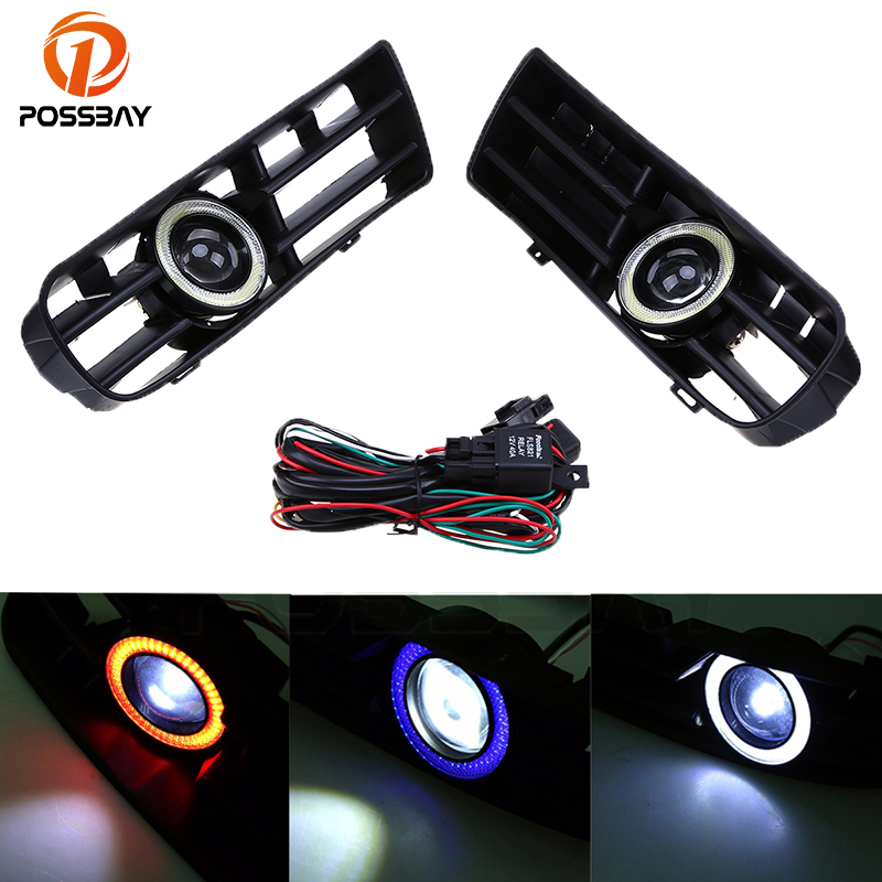 POSSBAY Car LED Running Fog Lights Grills COB DRL White/Blue/Red Angel Eye Foglamp for VW Golf/Variant/4Motion 1998-2006 for kia spectra 2004 2009 cerato chrome trim exterior door handle covers 2005 2006 2007 2008 accessories stickers car styling