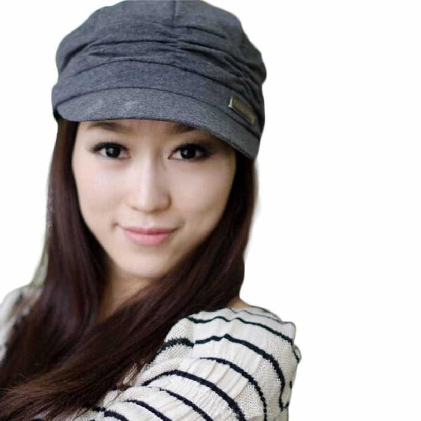 Moda increíble sólido Bouffancy mujer militar gorra plana sombrero gorro de estudiante Vintage gorro de marinero gorro de otoño-invierno