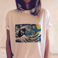CDJLFH Women Short Sleeve Graphic Tees Tops Vintage T-shirts Vincent van gogh starry night aesthetic White Tshirts Harajuku 2018