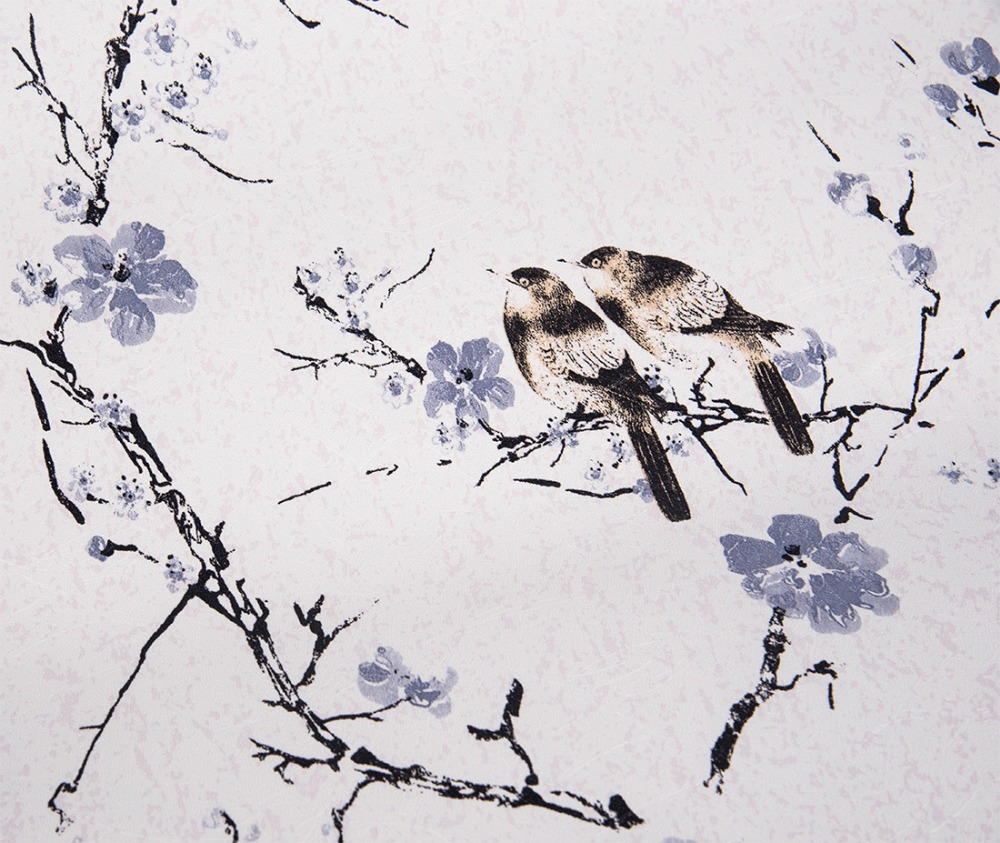 Bird and flower self adhesive wallpaper pvc mural contact for Bird mural wallpaper