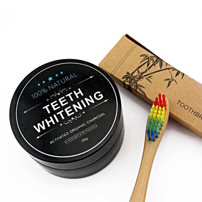Teeth Whitening Powder With Toothbrush Natural Organic Activated Charcoal Bamboo Toothpaste Teeth Whitening Kit(1 kit)