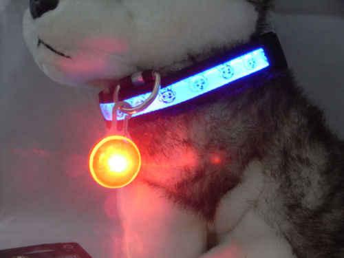 夜グローイング安全点滅 Led 発光犬の首輪猫犬ペンダントペットアクセサリー