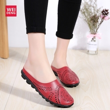WeiDeng Women Casual Genuine Leather Comfortable Soft Gommino Candy Color Super Light Fashion Flat Slip On Mother Shoes Loafers