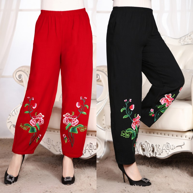 New National trend style Chinese vintage pattern trousers Traditional Clothing Women embriodered Flares Trousers Pants