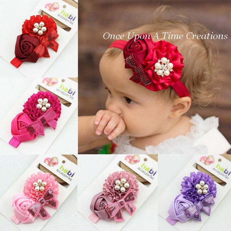 baby girl headband Infant hair newborn   Headwear   headwrap Toddlers Ribbon Kids Flower pearl turban Hair Accessories Band tiara
