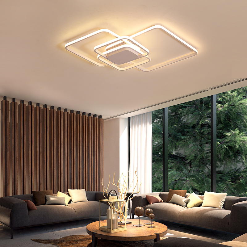 NEO Gleam Rectangle Modern led ceiling Lights For Living Room Bedroom Study Room White/Brown Color Square Ceiling Lamp With RCNEO Gleam Rectangle Modern led ceiling Lights For Living Room Bedroom Study Room White/Brown Color Square Ceiling Lamp With RC