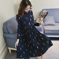Pregnant women dress Autumn 2016 new stand-up collar long-sleeved dress pregnant women loose large size printing pleated skirt