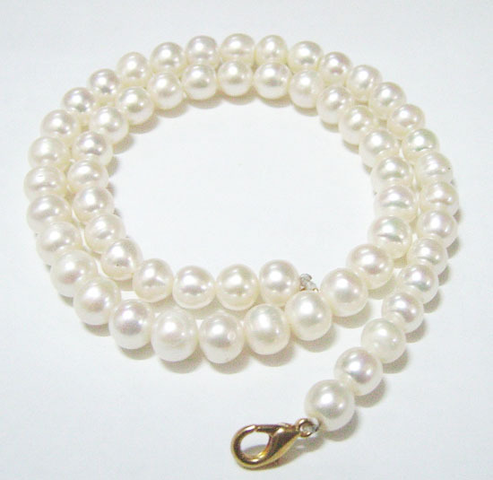 Free Shipping 10pcs/lot Round Freshwater Pearl Fashion Necklace Lobster Clasp 8-9mm White 16inch P8