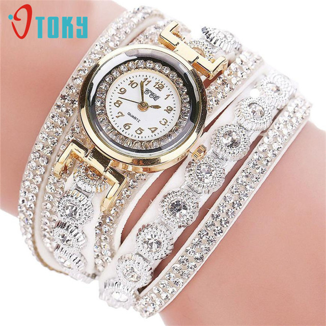 Essential Wristwatch Bangle Bracelet Women Casual AnalogQuartz Rhinestone Watch