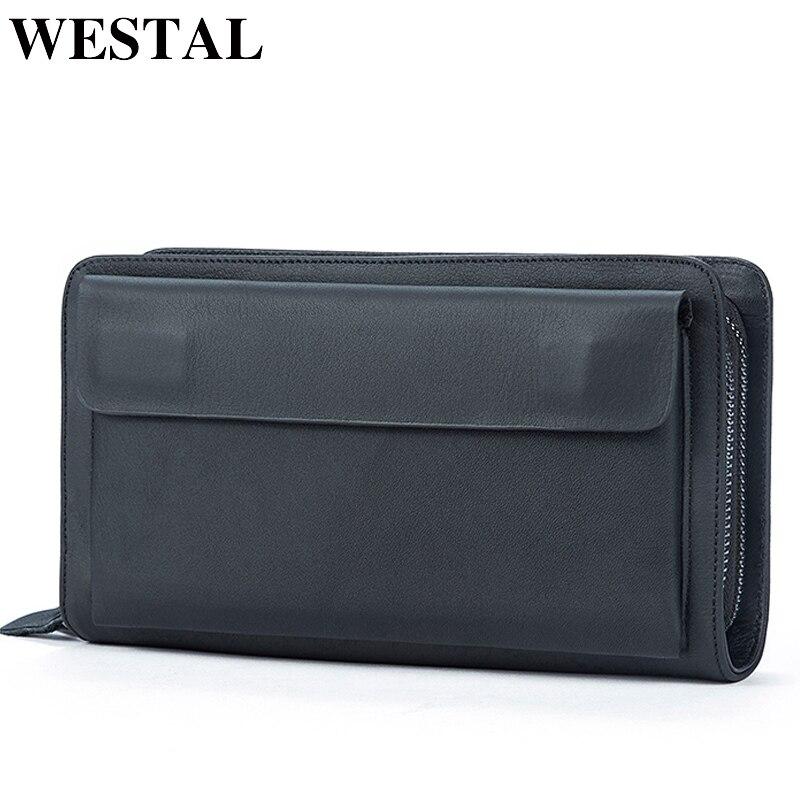 WESTAL Wallet Male Clutch-Bag Money-Bag Coin-Purse Dollar Portomonee Business Men's Carteras