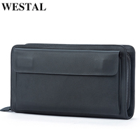 WESTAL men's wallet genuine leather clutch male clutch bag business portomonee wallets purse for men leather wallet money bag