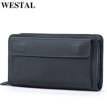 WESTAL men's wallet genuine leather clutch male clutch bag business portomonee wallets purse for men leather wallet money bag(China)