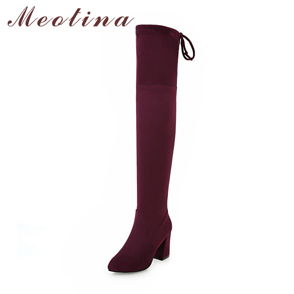 Meotina Winter Women Thigh High Boots Thick High Heel Boots Stretch Over Knee High Long Boots Fur Sexy Slim Shoes Big Size 34-43 2016 brand new winter sexy women thigh high fur boots black gray lady over the knee shoes chunky heel etc02 plus big size 10 43