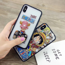 ONE PIECE Phone Case Japanese Anime Luffy Coque for Apple iphone 7 8 plus 6S X 6PLUS hard case+soft frame Capa for iphone X