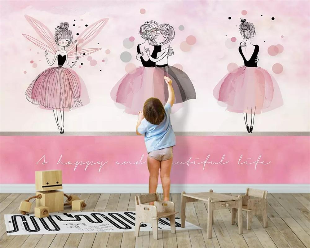 Beibehang Custom Fashion Green Three-dimensional Nordic Pink Ballerina Girl Children's Room Background Papel De Parede Wallpaper