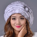 2016 New Rex Rabbit Fur Beanies Hat Women Winter Elegant Hat Warm Casual Striped Genuine Caps  Russia Fashion Female Caps