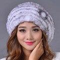 2016 Nuevos Gorros de Piel de Conejo Rex Sombrero Sombrero Caliente Del Invierno de Las Mujeres Elegantes Casual Rayas Tapas Genuina Rusia Moda Mujer Caps