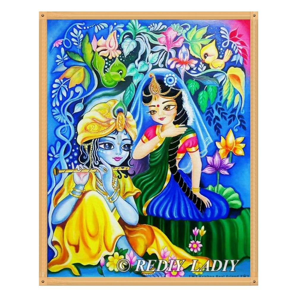 US $6 66 38% OFF|REDIY LADIY Diamond Mosaic Lord Krishna Diamond Painting  Cross Stitch Kits Full Square Diamonds Embroidery Wall Art Home Decor-in