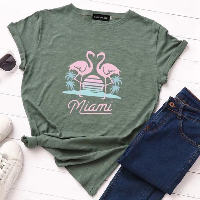 Summer Women Cartoon Animal Bird Flamingo Print T-shirt camiseta feminista Round Neck Short Sleeve Funny Tee S-XL