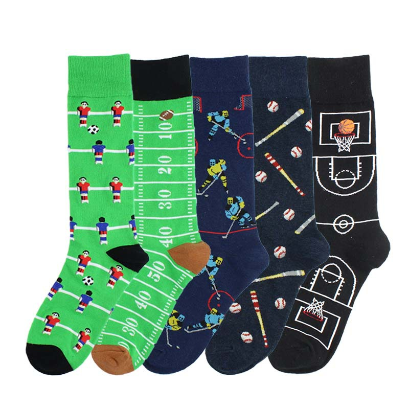 Adult Mid Calf Crew Socks Sport Ball Combat Exercise Baseball Bat Rugby Soccer Field Basketball Court Ice Hockey Rink Play Fun