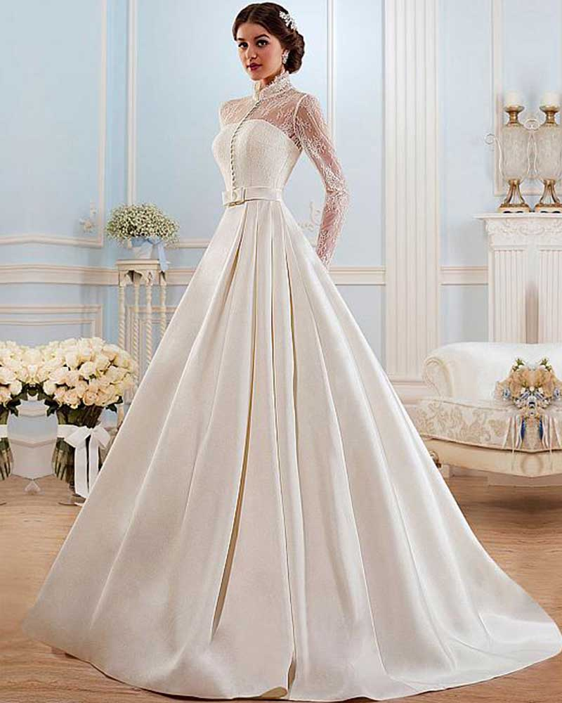 Buy joky quaon high neckline long sleeve for Plus size silk wedding dresses