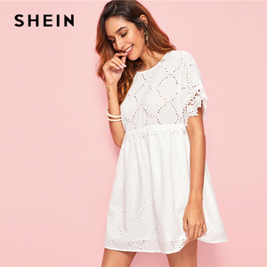 Image 2 - SHEIN White Guipure Lace Trim Schiffy Smock Boho Dress Women 2019 Summer Short Sleeve A Line Cute Mini Dresses For Ladies
