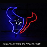 Houstonn Texan Football Bière Enseigne Au Néon Néon Ampoules Chambre Loisirs Windows Garage Mur Lampe Néon Signe Excellent Cadeaux Attirer 24x20