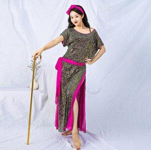 Image 2 - חדש נצנצים נשים בלאדי Shaabi Saidi תלבושות 4 חתיכה סט חלוק בטן ריקוד שלב להראות ביצועים תלבושת Loose עיצוב