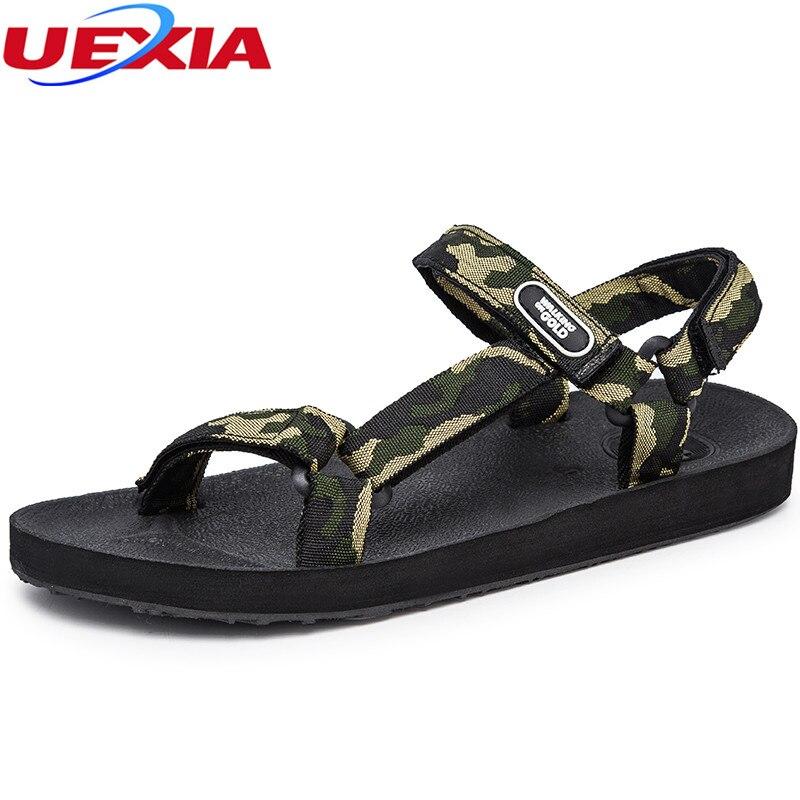 UEXIA 2018 Men Sandals Rubber Walking Canvas Beach Shoes For Men Sandal Shoe Hot Sale Anti-skid Fashion Mens Summer Casual Shoes