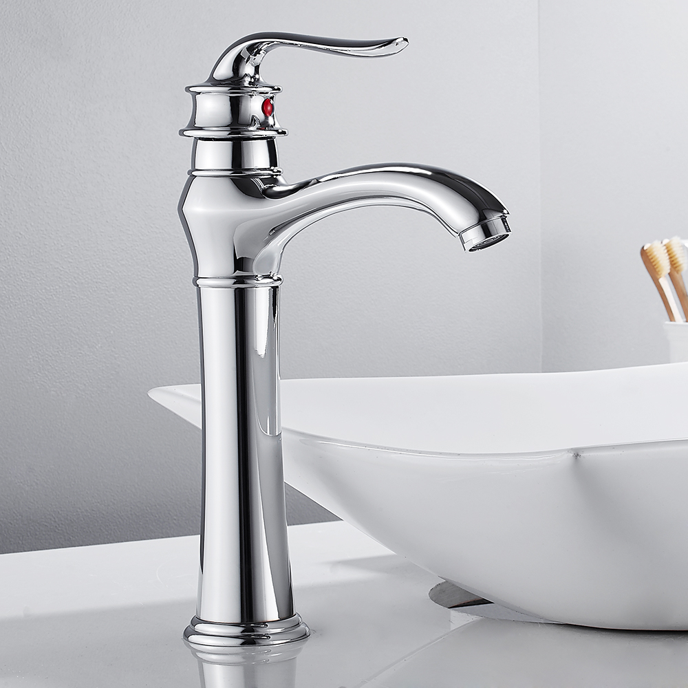 Tall Basin Faucet Mixer Tap Chrome Finish Deck Mounted One Hole Bathroom Washing Filler Classic Faucet