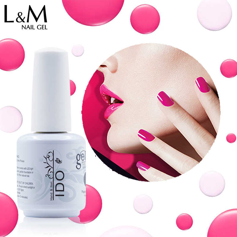 1 PC Ido Gelpolish Rendam Off 15 Ml LED UV Kuku Gel Polandia Base Top Kuku Merek Gel Pernis Kuku seni