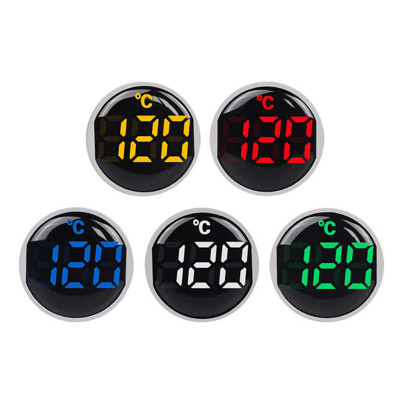 22mm Ronde Kleine Mini LED Licht Display Thermometer Digitale Temperatuur Meter Indicator AC 50-380 V 220 V -20-120 'C met 1 m Sensor