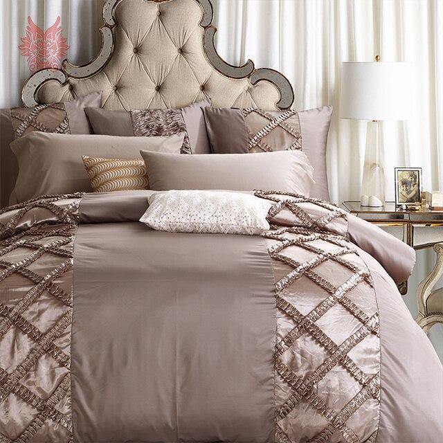 Home Textile American Luxury Wedding Cotton Tribute Silk Bedding Sets Plaid  Duvet Cover Bed Sheet Pillowcase