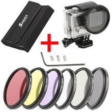 6Pcs 52mm CPL UV ND2 Lens Filter Set with waterproof case and Adapter Ring Cap for action sport camera Hero 3+/4 camera accessories for gopro hero5 hero 5 52mm 8 in 1 lens filter cpl uv nd8 nd2 star 8 red yellow fld purple