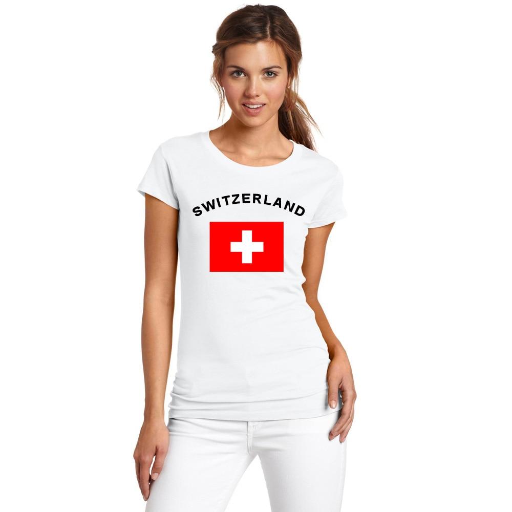 BLWHSA Yaz Avropa Qadınları İsveçrə Tərəfdarlar Cheer T-Shirts - Qadın geyimi - Fotoqrafiya 1