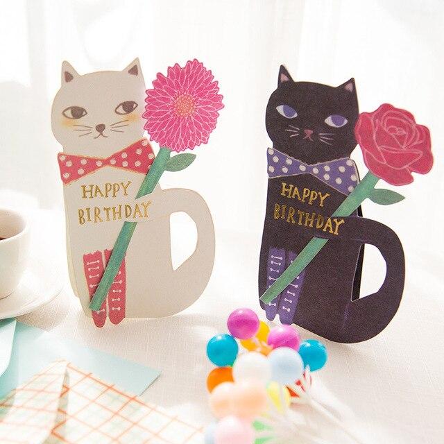 Leuke Kat Hold Rose Gelukkige Verjaardag Wenskaart Verjaardag
