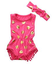 Cute Newborn Baby Girls Polka Dot Sleeveless Romper Jumpsuit Sunsuit+ Headband Outfits Set Clothes