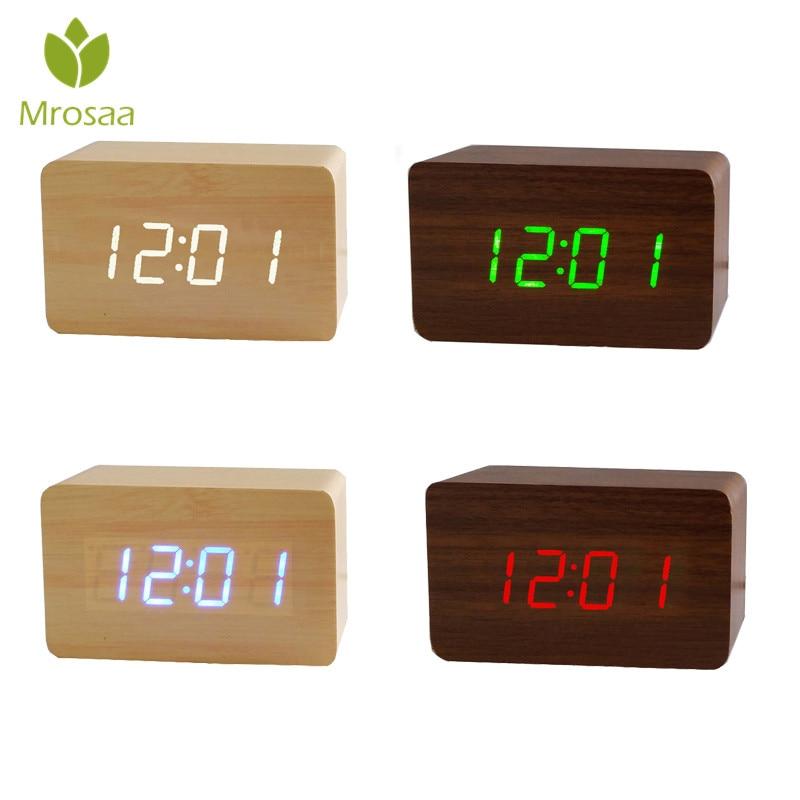 Devoted Wooden Led Temperature Control Electronic Clock Sound Control Digital Led Display Desktop Creative Wooden Table Clock Clocks Home Decor