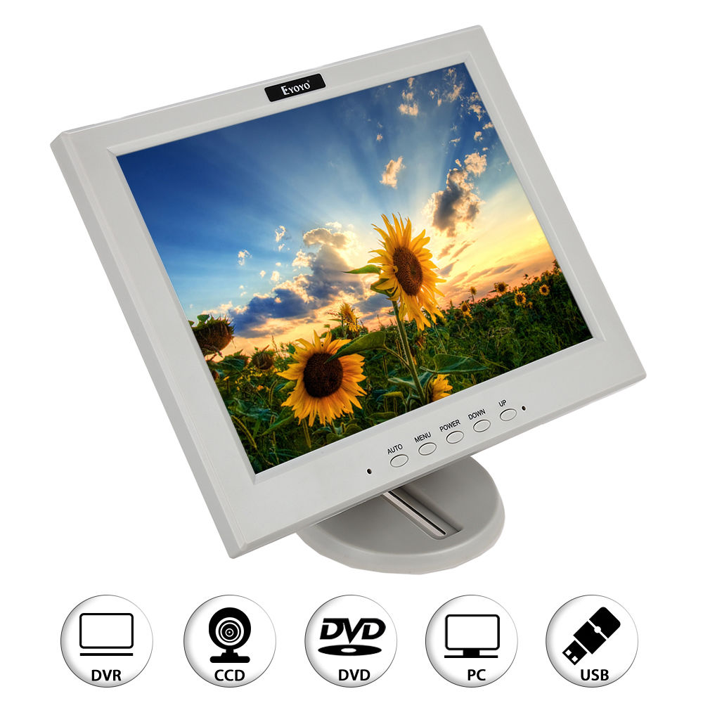 Eyoyo 12 inch LCD Monitor Display VGA BNC HDMI Input White for PC CCTV DVR CCD Camera FPV Banking White 17 inch tft cctv lcd 4 3 lcd color monitor screen display bnc vga av hdmi input with stand for hdmi microscope camera pc