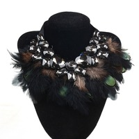 New Fashion Maxi Style Peafowl Statement Crystal Heart Feather Necklace Collar Choker Necklace For Women Wholesale