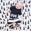 Para 9 M a 3 anos de idade do bebê Carta Impressão T-shirt + Calças Roupas Roupas Tarja 1 PC Tops + 1 PC Calças De Algodão Mistura Roupas Outfits