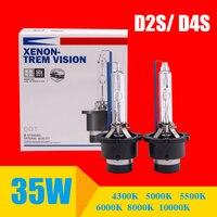 2 шт. D2S D2R D4S D4R Ксеноновые фары лампы Биксеноновые линзы прожекторного типа Замена лампы с металлическим кольцом держатель 4300 K 6000 K 8000 K 3000 K