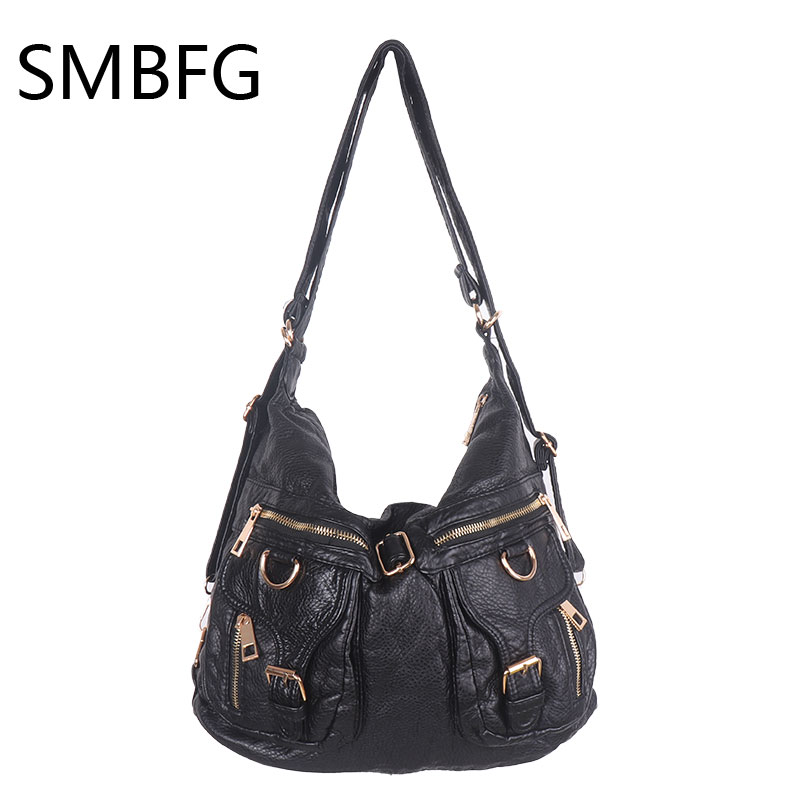 Zipper Washed Shoulder Bag vintage style Lady Top-handle bags handbags women famous brands female casual Big bag Soft Tote new fashion style belt top handle bags women bags handbags women famous brands oil skin solid soft female casual tote sac a main